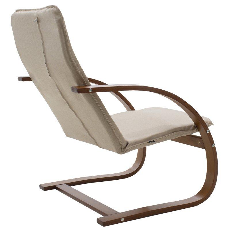 Πολυθρόνα Rena pakoworld σε μόκα ύφασμα και καρυδί ξύλο