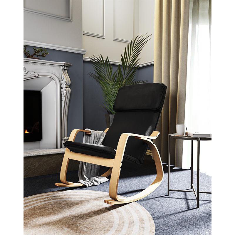 Πολυθρόνα Zenia pakoworld κουνιστή σε μαύρο ύφασμα και φυσικό ξύλο
