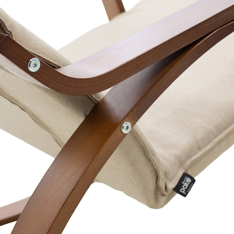 Πολυθρόνα Zenia pakoworld κουνιστή σε μόκα ύφασμα και καρυδί ξύλο