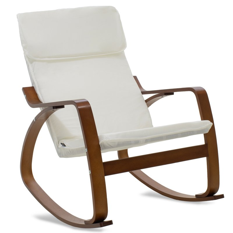 Πολυθρόνα Zenia pakoworld κουνιστή σε λευκό ύφασμα και καρυδί ξύλο