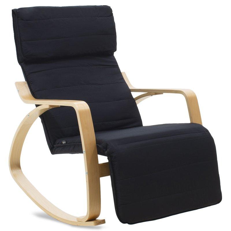 Πολυθρόνα Elma pakoworld κουνιστή με υποπόδιο σε μαύρο ύφασμα και φυσικό ξύλο