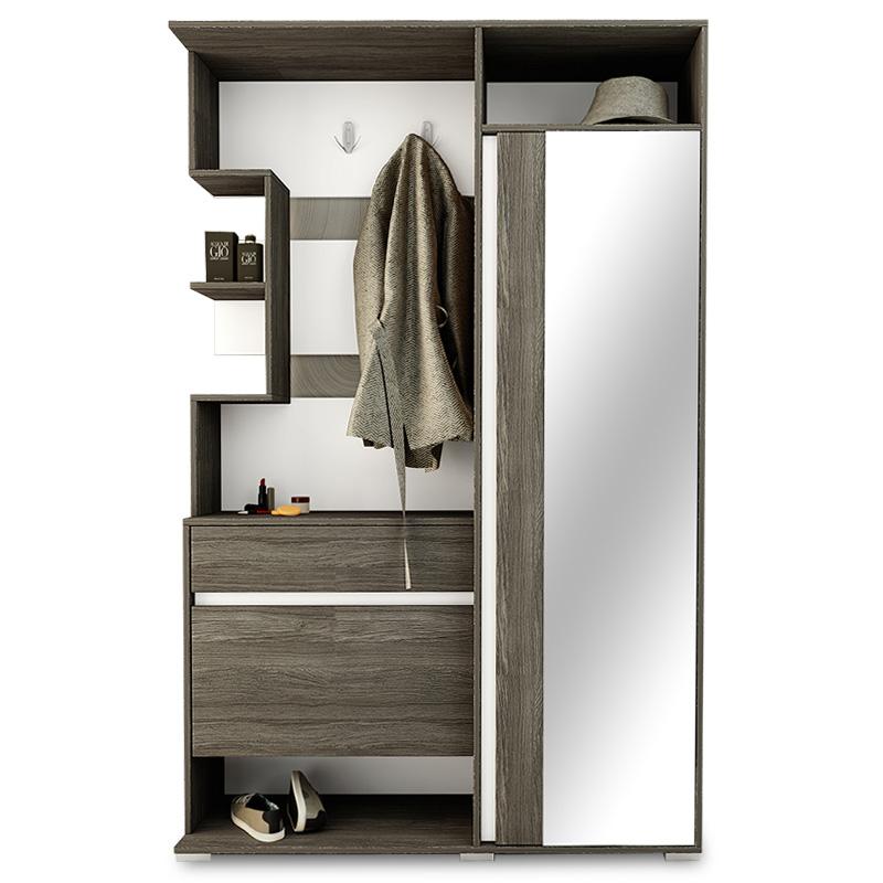 Έπιπλο εισόδου Vival pakoworld με καθρέπτη χρώμα καρυδί - λευκό 123x35x195εκ