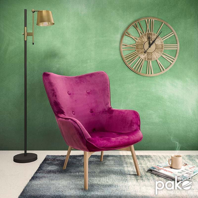 Πολυθρόνα Kido pakoworld υφασμάτινη βελούδο χρώμα βυσσινί