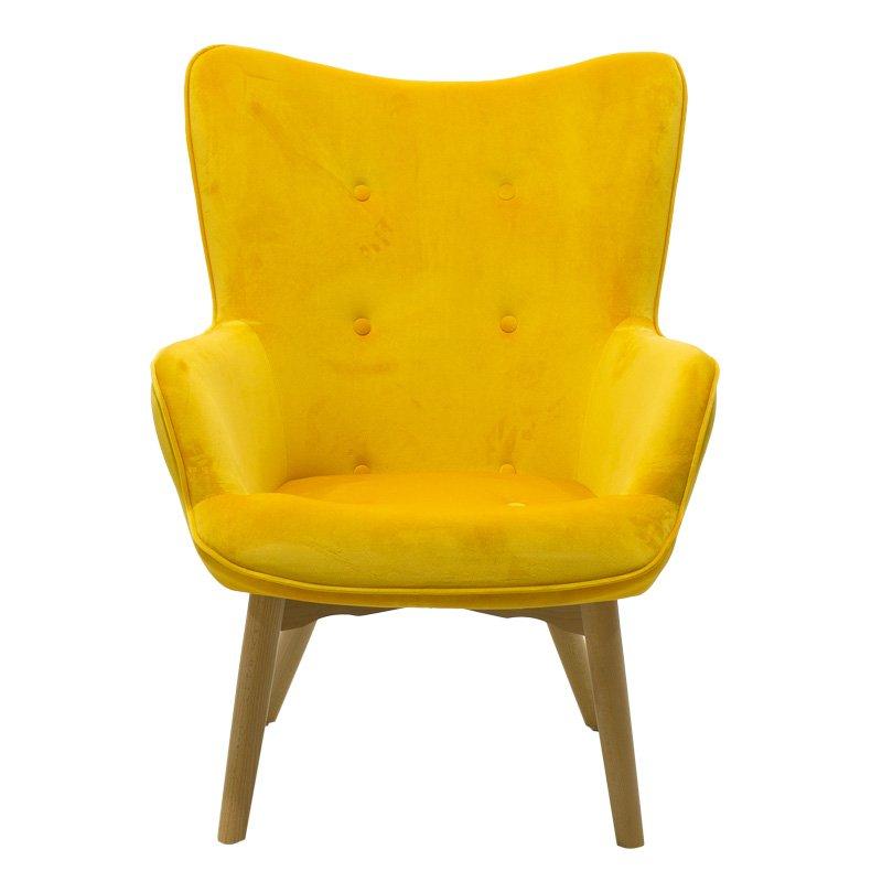 Πολυθρόνα Kido pakoworld υφασμάτινη βελούδο χρώμα κίτρινο