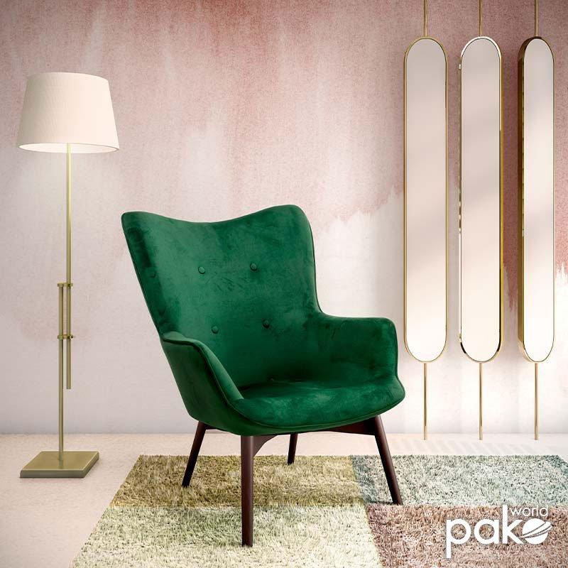 Πολυθρόνα Kido pakoworld υφασμάτινη βελούδο χρώμα σκούρο πράσινο
