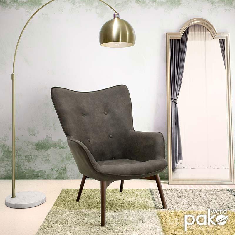 Πολυθρόνα Kido pakoworld υφασμάτινη χρώμα σκούρο καφέ