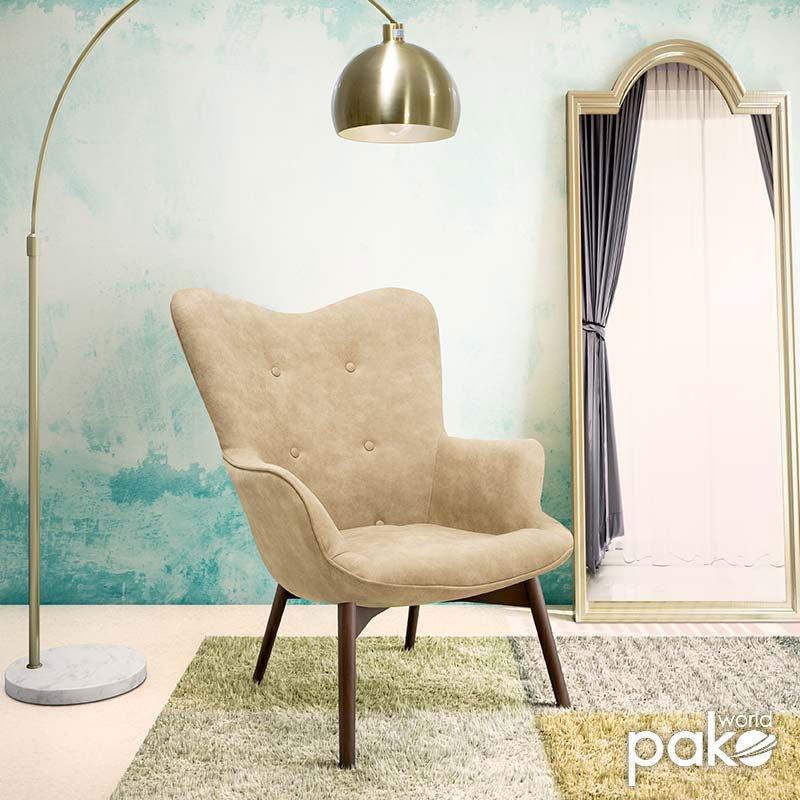 Πολυθρόνα Kido pakoworld υφασμάτινη χρώμα ανοικτό καφέ