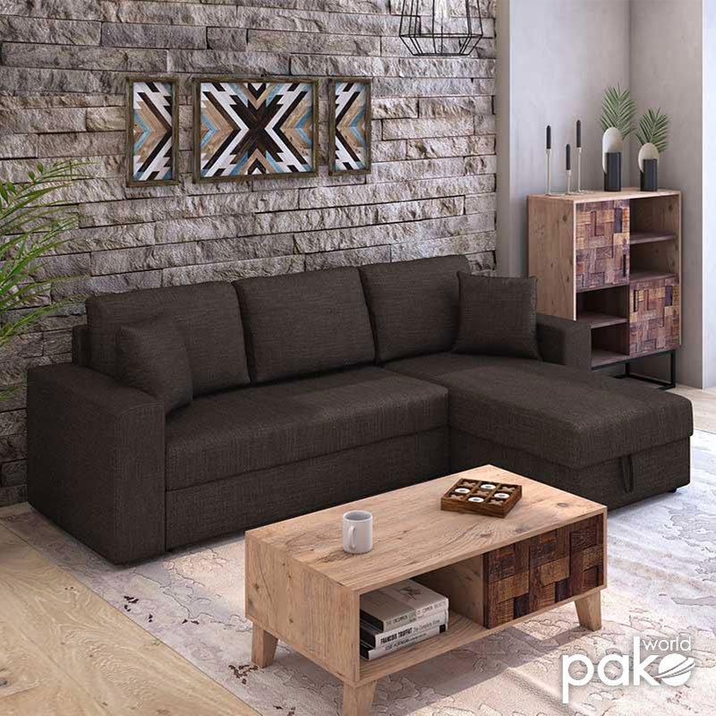 Γωνιακός καναπές κρεβάτι Marvel pakoworld αναστρέψιμος με αποθηκευτικό χώρο καφέ ύφασμα