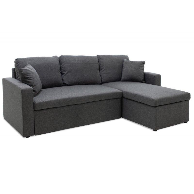 Γωνιακός καναπές κρεβάτι Marvel pakoworld αναστρέψιμος με αποθηκευτικό χώρο ανθρακί ύφασμα