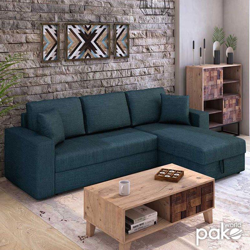 Γωνιακός καναπές κρεβάτι Marvel pakoworld αναστρέψιμος με αποθηκευτικό χώρο μπλε ύφασμα