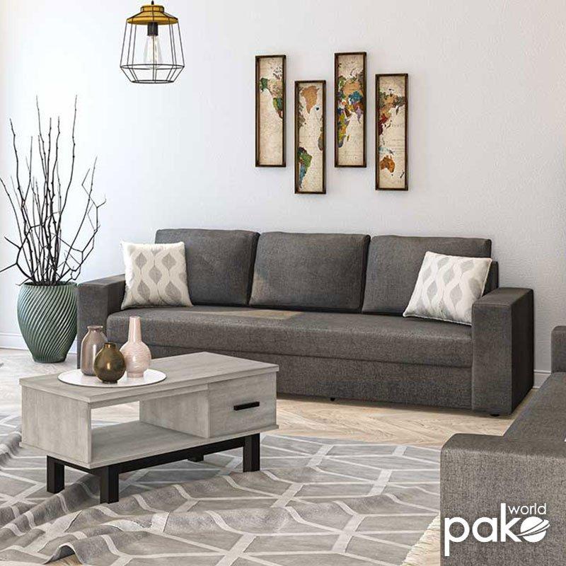 Καναπές κρεβάτι Pepe pakoworld με ανθρακί ύφασμα 215x82x84εκ