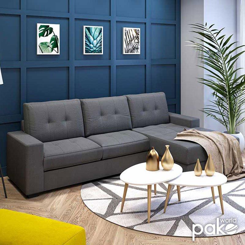 Γωνιακός καναπές Betty pakoworld αναστρέψιμος υφασμάτινος χρώμα γκρι 200x160x90εκ
