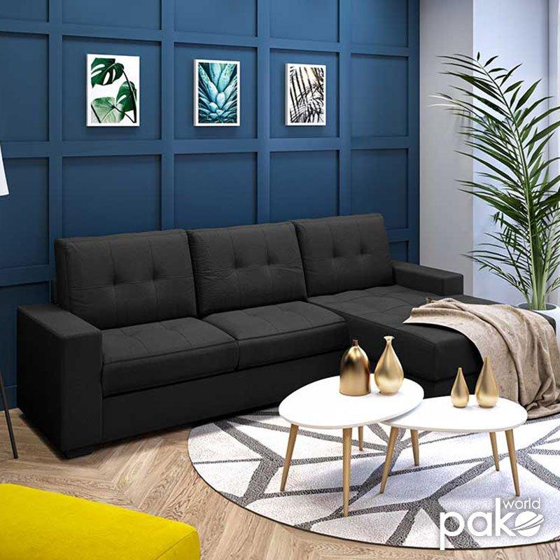 Γωνιακός καναπές Betty pakoworld αναστρέψιμος υφασμάτινος χρώμα μαύρο 200x160x90εκ