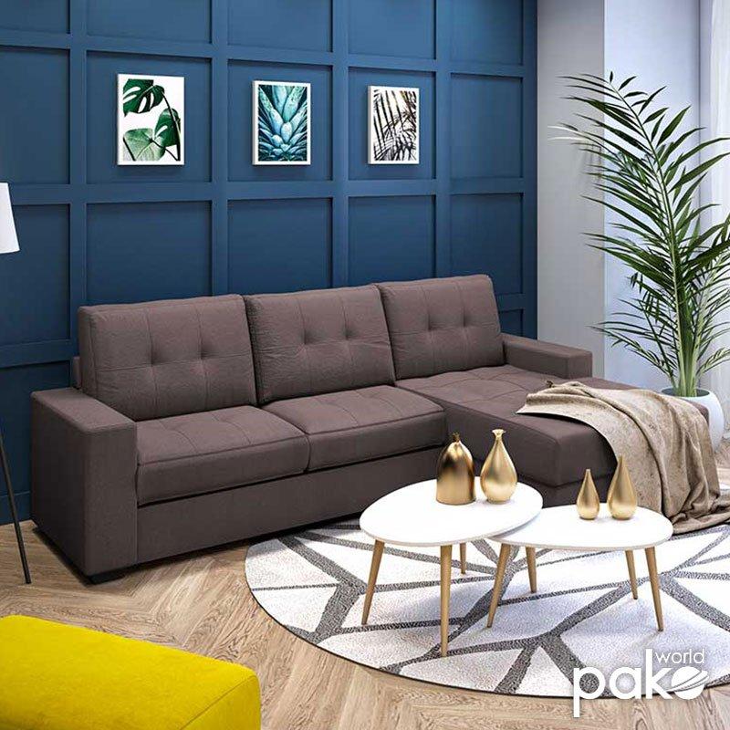 Γωνιακός καναπές Betty pakoworld αναστρέψιμος υφασμάτινος χρώμα καφέ 200x160x90εκ