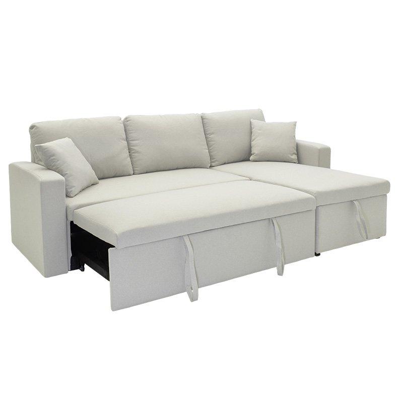 Γωνιακός καναπές κρεβάτι Marvel pakoworld αναστρέψιμος με αποθηκευτικό χώρο μπεζ-γκρι ύφασμα