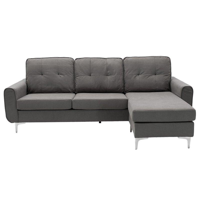Γωνιακός καναπές Ballon pakoworld αναστρέψιμος υφασμάτινος χρώμα γκρι 218x135x83,5εκ