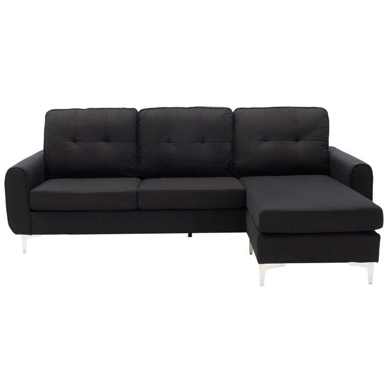 Γωνιακός καναπές Ballon pakoworld αναστρέψιμος υφασμάτινος χρώμα μαύρο 218x135x83,5εκ