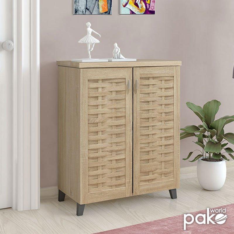 Παπουτσοθήκη-ντουλάπι MANTAM pakoworld 12 ζεύγων χρώμα sonoma 78x40x92εκ