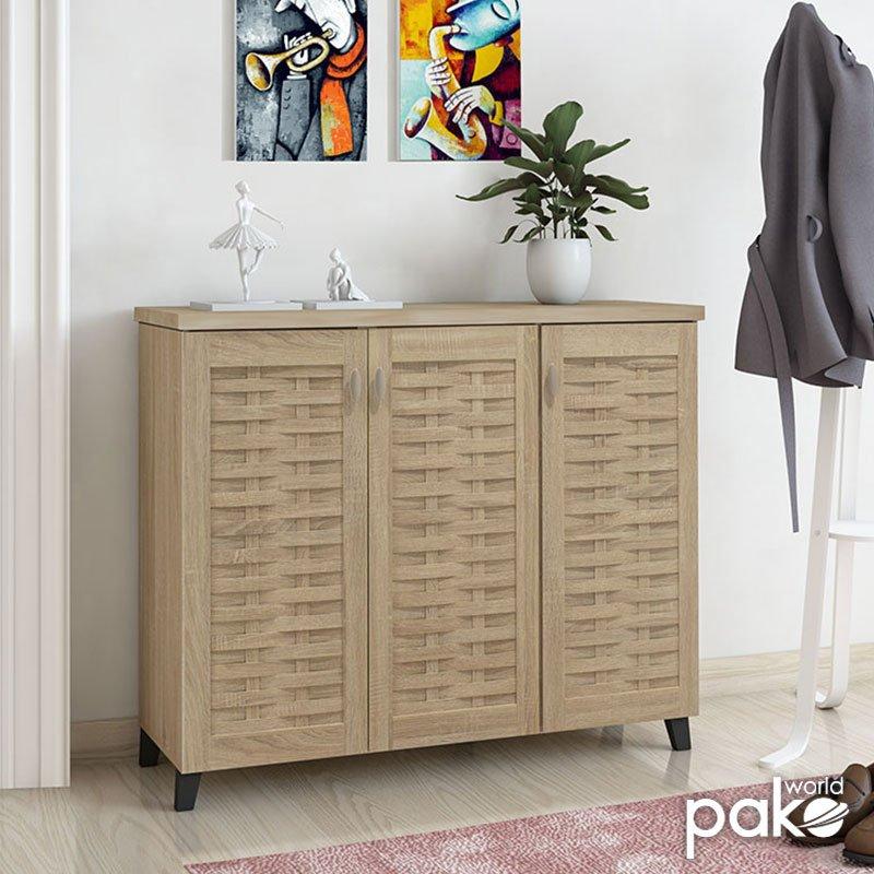 Παπουτσοθήκη-ντουλάπι MANTAM pakoworld 16 ζεύγων χρώμα sonoma 115,5x40x92εκ