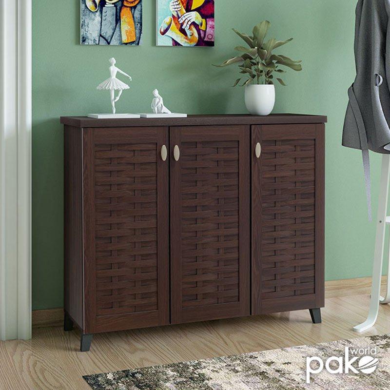 Παπουτσοθήκη-ντουλάπι MANTAM pakoworld 16 ζεύγων χρώμα καρυδί 115,5x40x92εκ