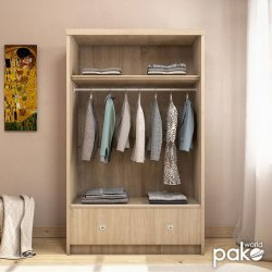 Ντουλάπα ρούχων Magnum pakoworld δίφυλλη με συρόμενες πόρτες και συρτάρι sonoma 110x53,5x180εκ