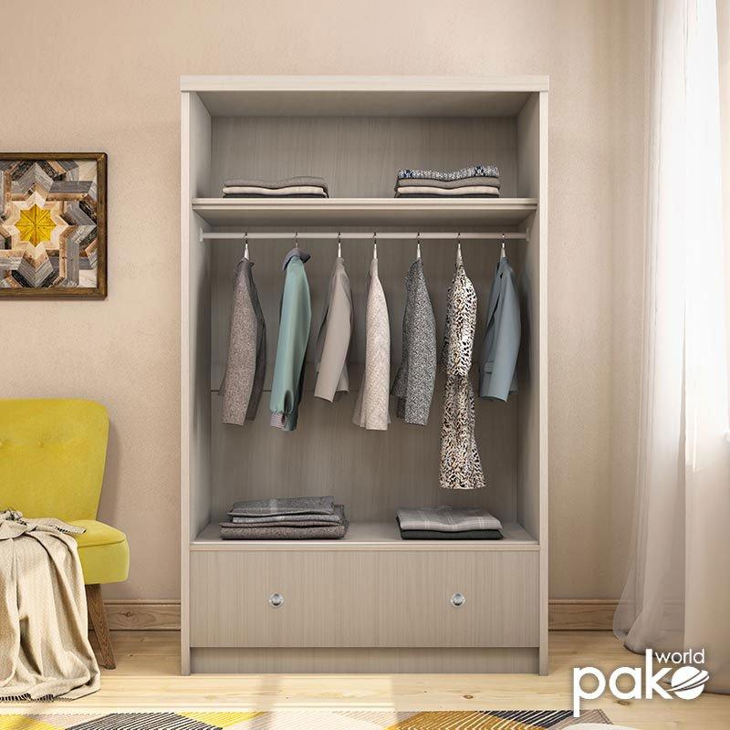 Ντουλάπα ρούχων Magnum pakoworld δίφυλλη με συρόμενες πόρτες και συρτάρι λευκό γκρι 110x53,5x180εκ