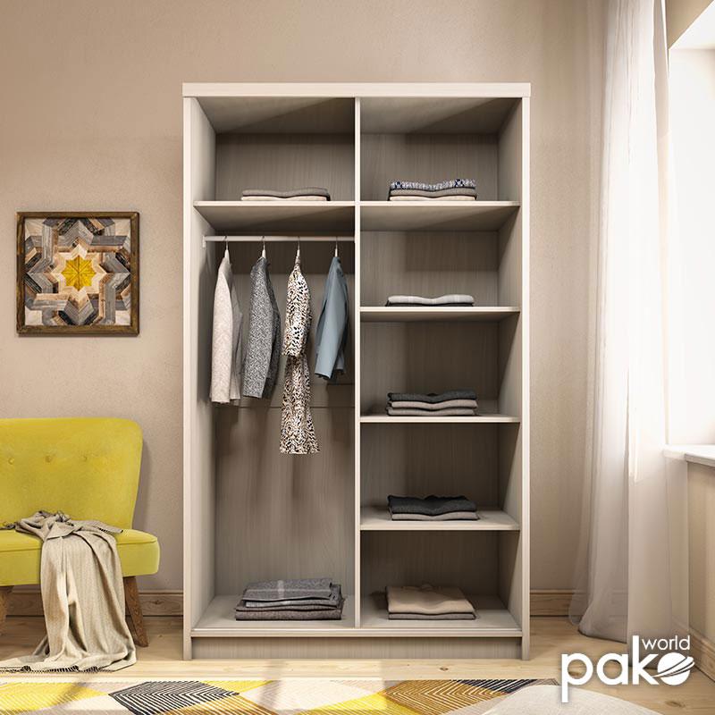 Ντουλάπα ρούχων Cosmo pakoworld δίφυλλη με συρόμενες πόρτες λευκό γκρι 120x62x200εκ
