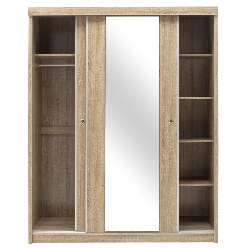 Ντουλάπα ρούχων Cosmo pakoworld δίφυλλη με συρόμενες πόρτες sonoma 160x62x200εκ