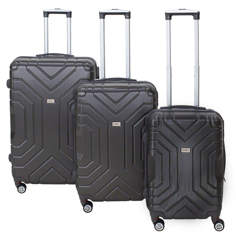 Σετ βαλίτσες Galaxy pakoworld 3ων τμχ τροχήλατες σκληρές από ABS ανθρακί