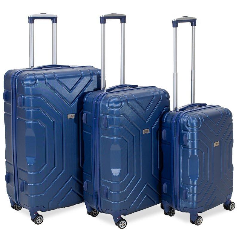 Σετ βαλίτσες Galaxy pakoworld 3ων τμχ τροχήλατες σκληρές από ABS σκούρο μπλε