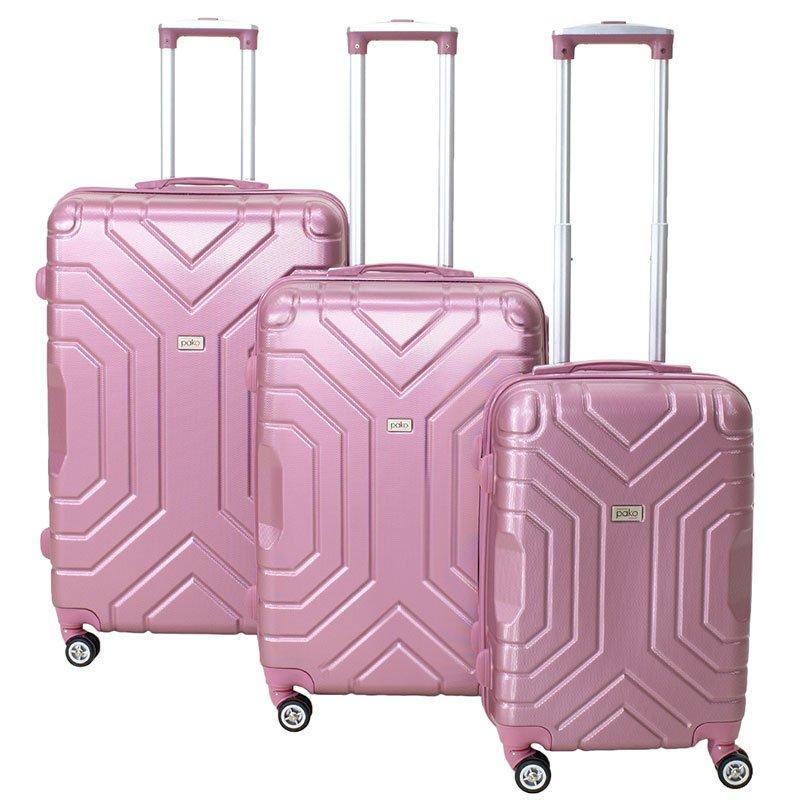 Σετ βαλίτσες Galaxy pakoworld 3ων τμχ τροχήλατες σκληρές από ABS ροζ