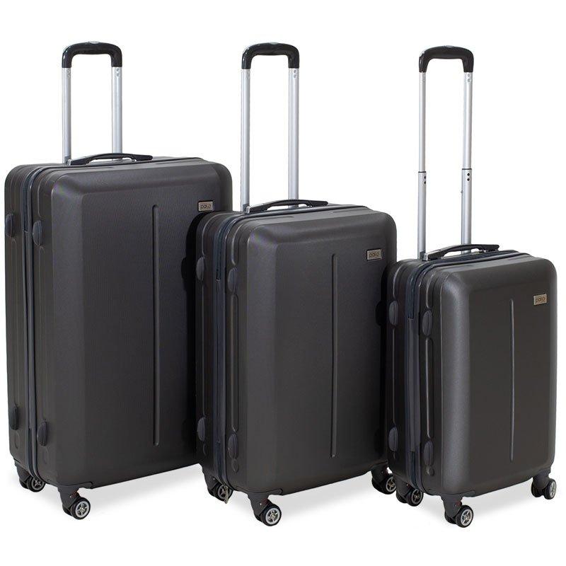 Σετ βαλίτσες Line pakoworld 3ων τμχ τροχήλατες σκληρές από ABS ανθρακί