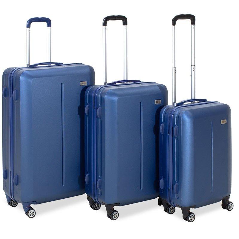 Σετ βαλίτσες Line pakoworld 3ων τμχ τροχήλατες σκληρές από ABS σκούρο μπλε