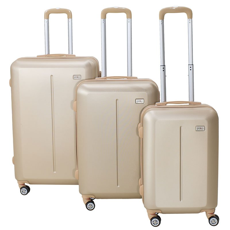 Σετ βαλίτσες Line pakoworld 3ων τμχ τροχήλατες σκληρές από ABS σαμπανιζέ
