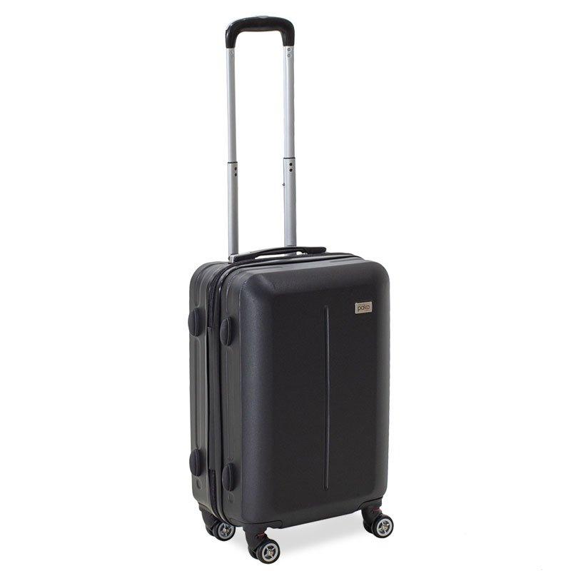 Βαλίτσα καμπίνας Line pakoworld με ρόδες σκληρή από ABS μαύρο 40x22x55εκ