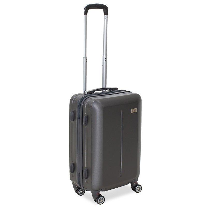 Βαλίτσα καμπίνας Line pakoworld με ρόδες σκληρή από ABS ανθρακί 40x22x55εκ