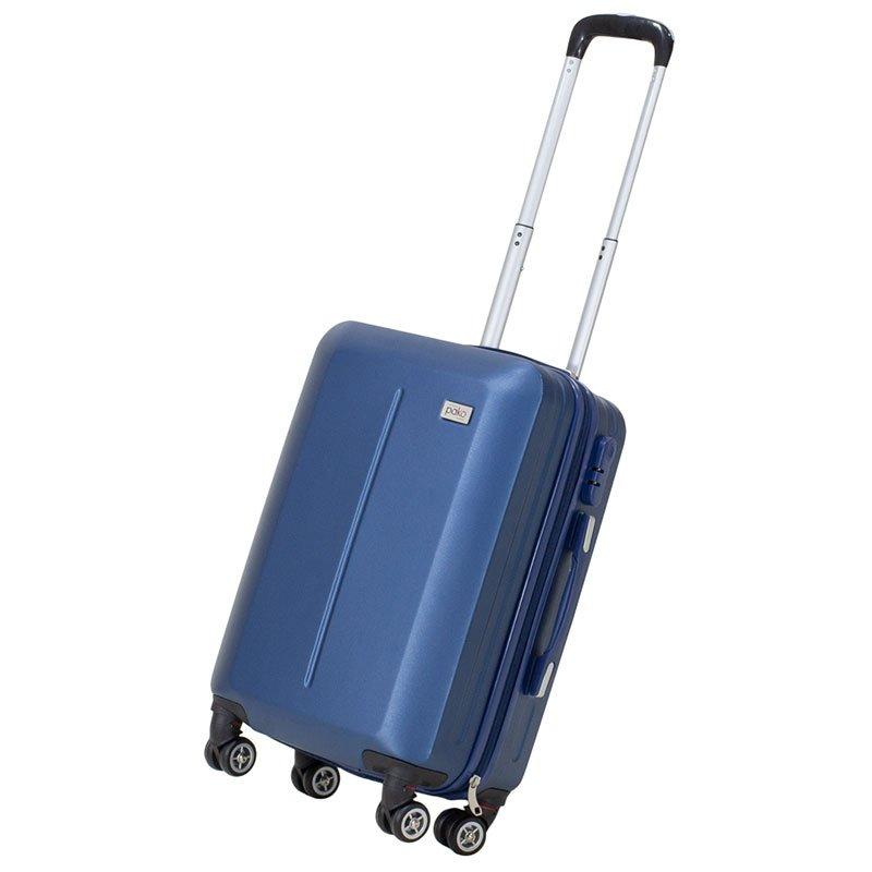 Βαλίτσα καμπίνας Line pakoworld με ρόδες σκληρή από ABS μπλε 40x22x55εκ