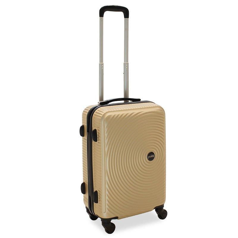 Βαλίτσα καμπίνας  Polar pakoworld με 4 ρόδες σκληρή από ABS+PC σαμπανιζέ 38x22,5x57εκ