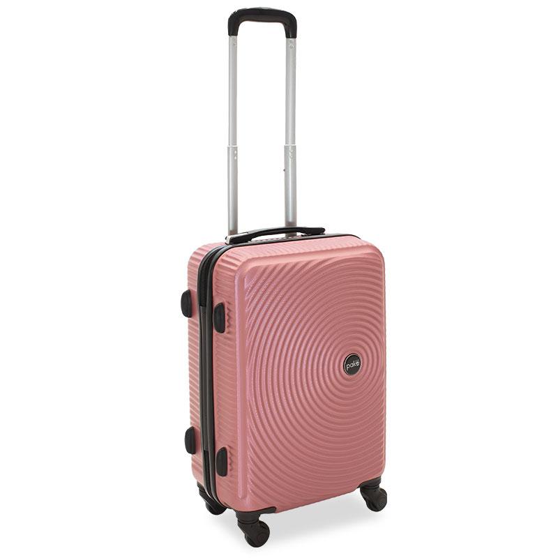 Βαλίτσα καμπίνας  Polar pakoworld με 4 ρόδες σκληρή από ABS+PC ροζ 38x22,5x57εκ