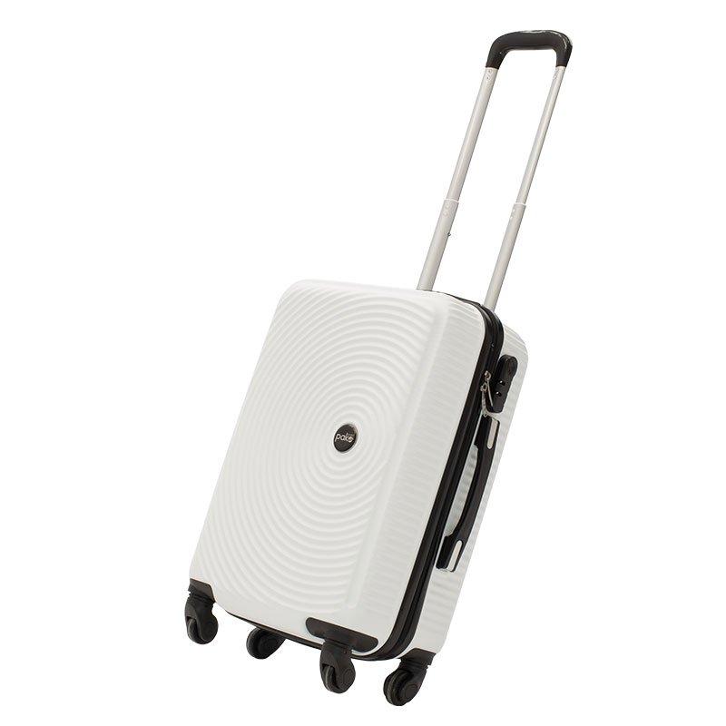 Βαλίτσα καμπίνας  Polar pakoworld με 4 ρόδες σκληρή από ABS+PC λευκό 38x22,5x57εκ