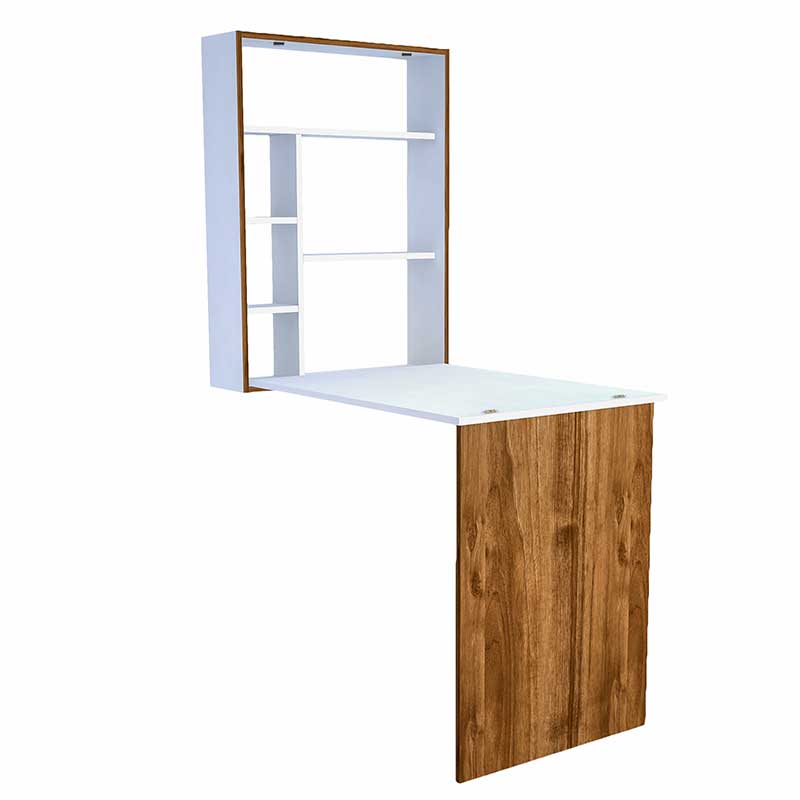 Γραφείο τοίχου ανοιγόμενο Magic Box pakoworld λευκό -καρυδί 78x58x75
