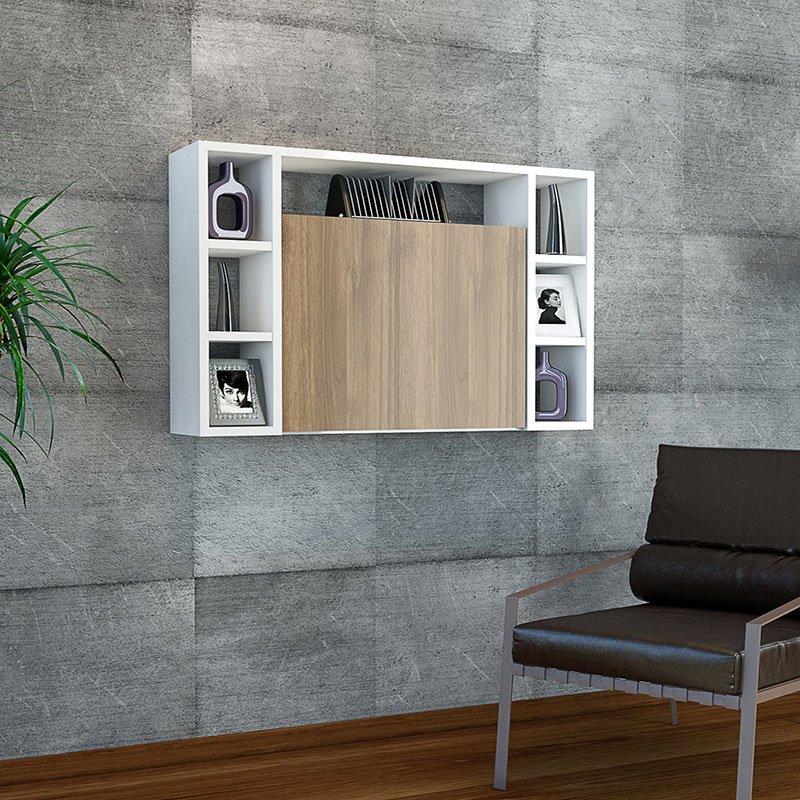 Γραφείο τοίχου Omega pakoworld ανοιγόμενο λευκό-καρυδί 90x20+(56)x60