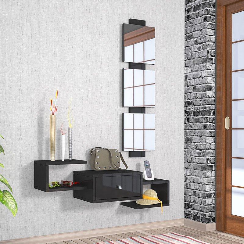 Κονσόλα τοίχου Dorado Coat pakoworld με καθρέφτη μαύρο gloss χρώμα