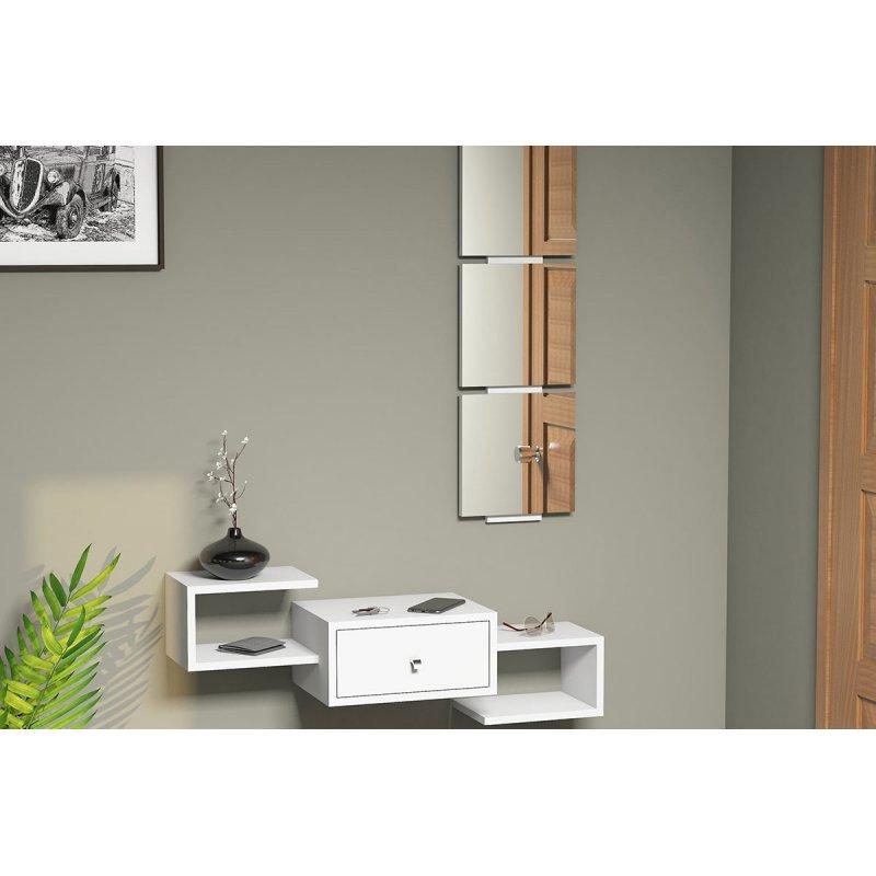 Κονσόλα τοίχου Dorado Coat pakoworld με καθρέφτη λευκό χρώμα
