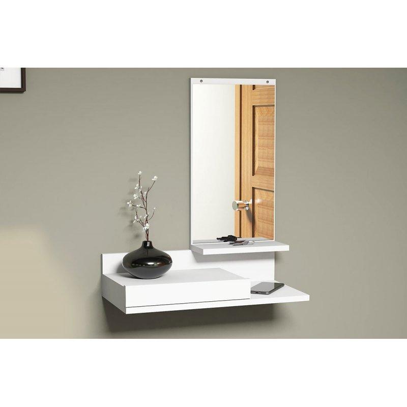 Κονσόλα τοίχου Mode Coat pakoworld με καθρέφτη λευκό χρώμα 60x30x80