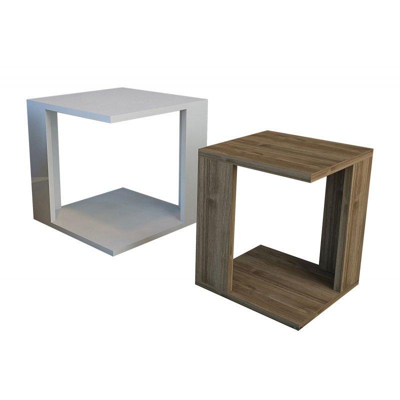 Βοηθητικά τραπέζια σαλονιού Cubic Zigon pakoworld σετ 2τεμ λευκό-καρυδί 40x40x40