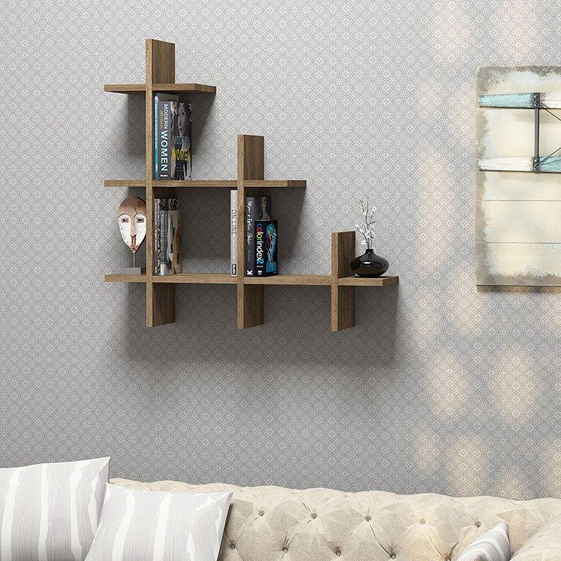 Ράφια τοίχου 3 Gen Wall pakoworld καρυδί 80x18x80