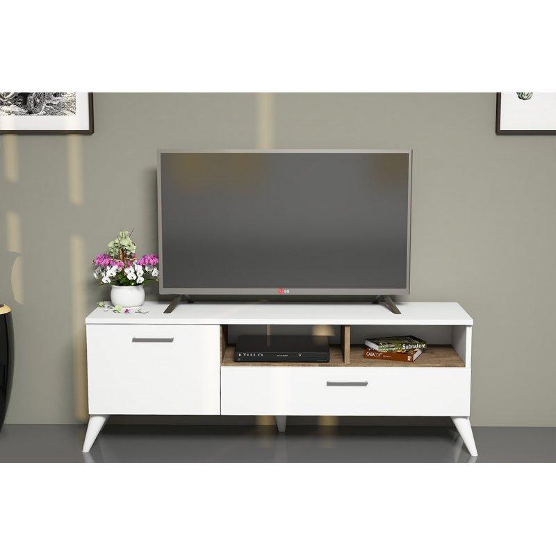 Έπιπλο τηλεόρασης Sinba Tv  pakoworld χρώμα λευκό-καρυδί 120x32x48εκ