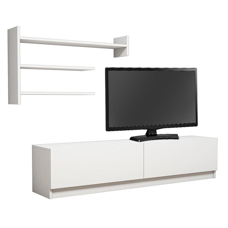 Σύνθετο σαλονιού MARTIN TV pakoworld σε χρώμα λευκό 160x34x40