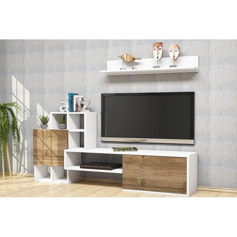 Σύνθετο σαλονιού Rinaldo Tv pakoworld σε χρώμα λευκό-καρυδί 160x30x78